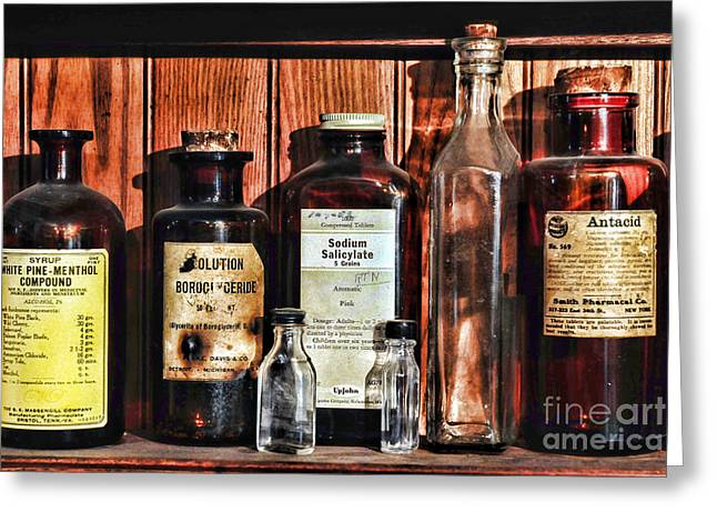Liniment Greeting Cards - Doctor - Antacid in a bottle Greeting Card by Paul Ward