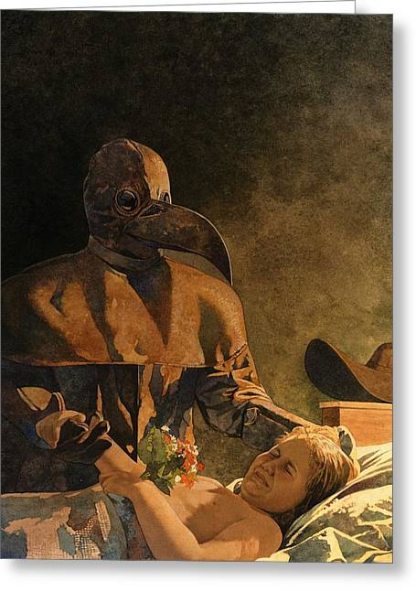 Plague Greeting Cards - Doctor Death and Child Greeting Card by Matthew Frey
