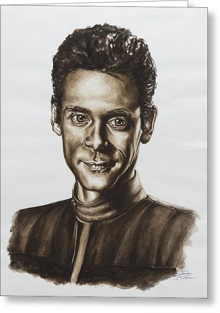 Roddenberry Paintings Greeting Cards - doctor Julian Bashir Star Trek DS9 Greeting Card by Giulia Riva