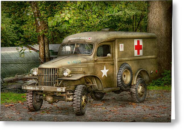 Ambulance Greeting Cards - Doctor - MASH Unit  Greeting Card by Mike Savad