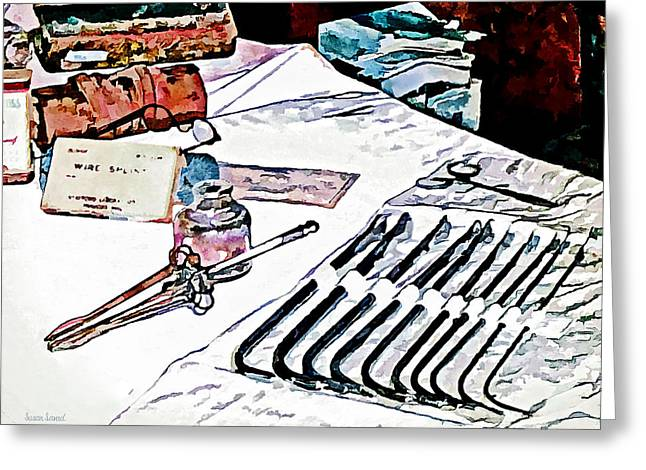 Doctor - Medical Instruments Greeting Card by Susan Savad