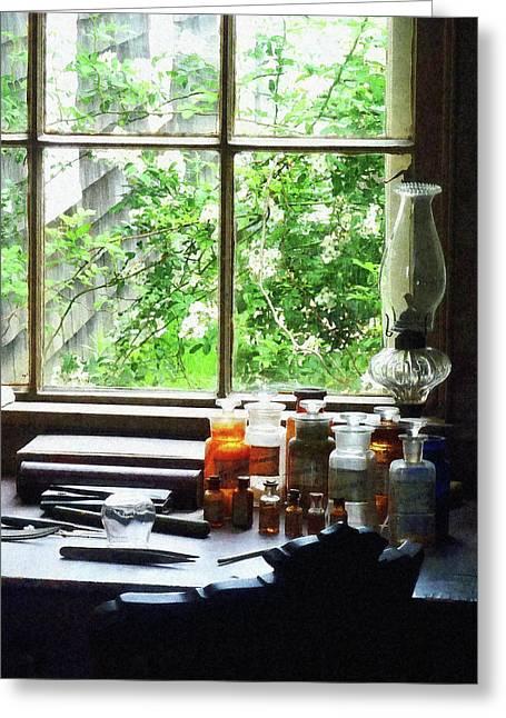 Medicine Greeting Cards - Doctor - Medicine and Hurricane Lamp Greeting Card by Susan Savad