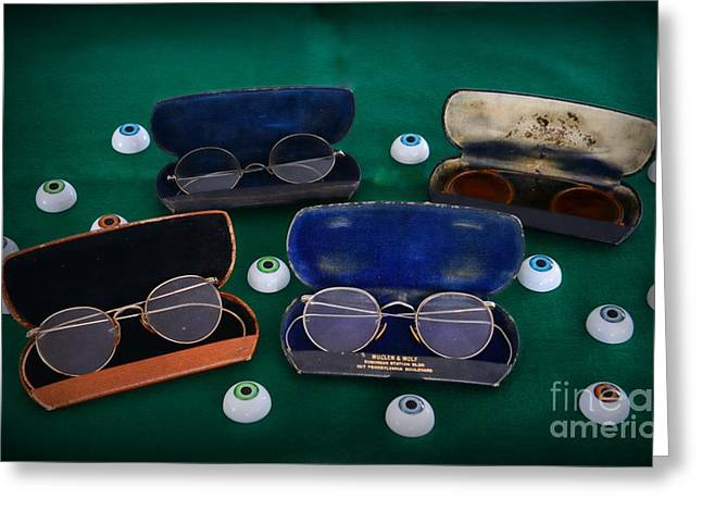 Vision Office Greeting Cards - Doctor - Optomerist - glasses and eyes Greeting Card by Paul Ward