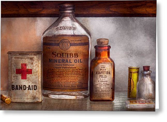 Glass Bottle Greeting Cards - Doctor - Pharmacueticals  Greeting Card by Mike Savad