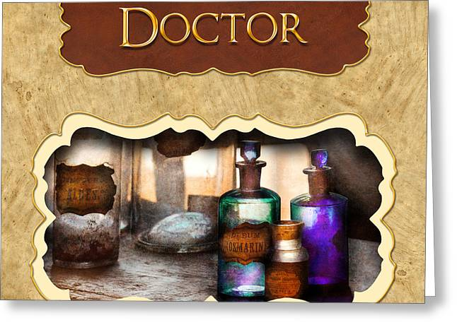 Healer Greeting Cards - Doctor - pharmacy button Greeting Card by Mike Savad