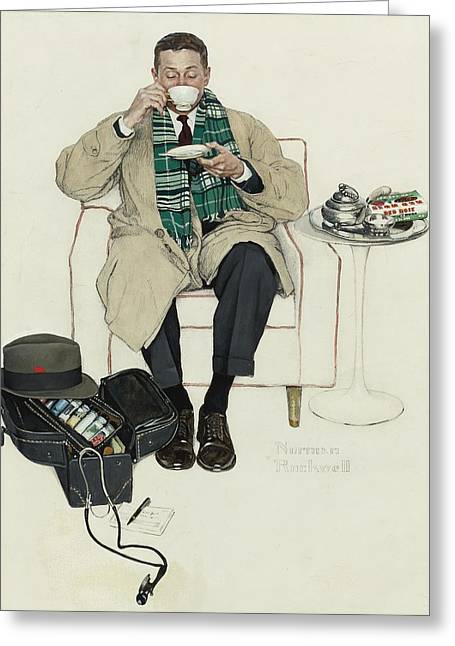 Norman Drawings Greeting Cards - Doctor Relaxing with Tea Greeting Card by Nomad Art And  Design