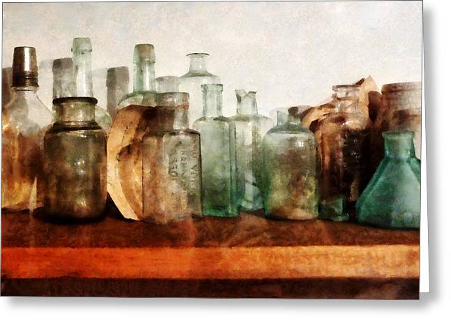 Bottles Greeting Cards - Doctor - Row of Medicine Bottles Greeting Card by Susan Savad