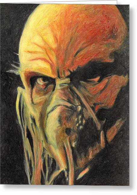 Haunted House Paintings Greeting Cards - Doctor Satan Greeting Card by Taylan Soyturk