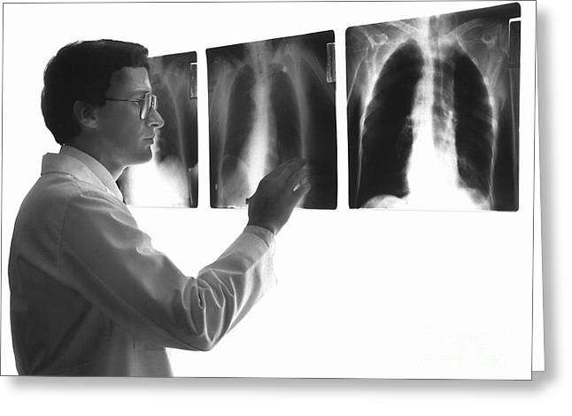 X-box Greeting Cards - Doctor Studying X-rays Greeting Card by Dennis Potokar