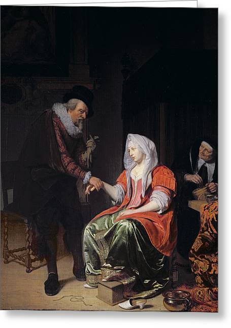 Medicine Greeting Cards - Doctor Taking A Young Womans Pulse Greeting Card by Michiel van Musscher