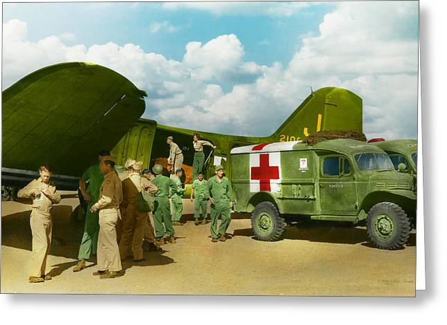 Ww Ii Greeting Cards - Doctor  - Transferring the wounded Greeting Card by Mike Savad