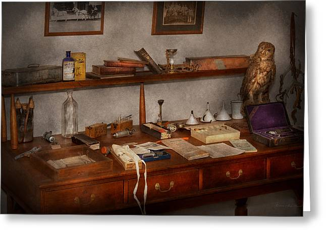 Bird Bottle Greeting Cards - Doctor - Vet - The desk of a Veterinarian Greeting Card by Mike Savad