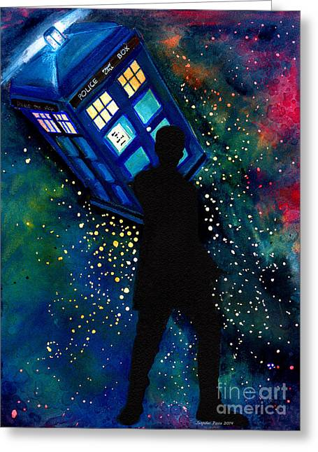 Outer Space Paintings Greeting Cards - Doctor Who Am I a Good Man Greeting Card by Jennifer Pavia