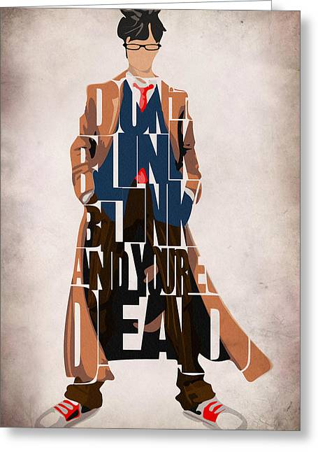 Artwork Greeting Cards - Doctor Who Inspired Tenth Doctors Typographic Artwork Greeting Card by Ayse Deniz