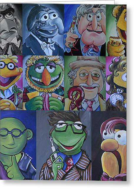 11th Doctor Greeting Cards - Doctor Who Muppet Mash-up Greeting Card by Lisa Leeman