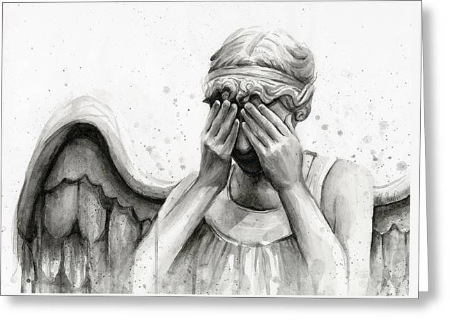 Illustration Greeting Cards - Doctor Who Weeping Angel Dont Blink Greeting Card by Olga Shvartsur