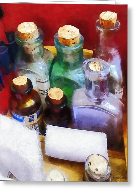 Medicine Greeting Cards - Doctors - Medicine Bottles and Bandages Greeting Card by Susan Savad