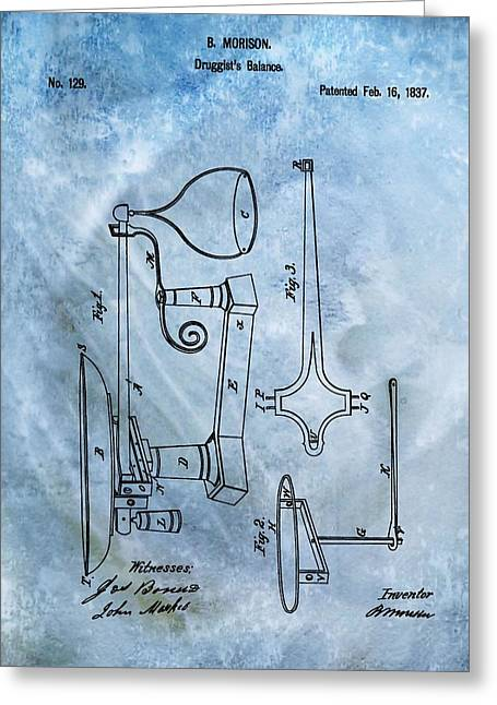 Druggist Greeting Cards - Doctors Scale Patent Greeting Card by Dan Sproul