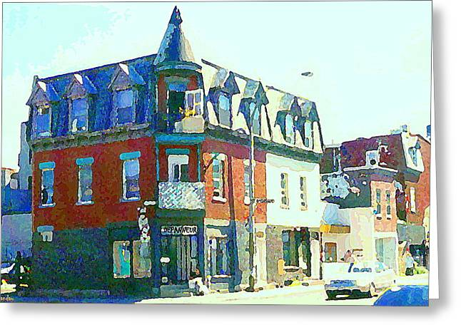 Montreal Stores Paintings Greeting Cards - Documenting Local Storefronts Old Mansion St Dominique Depanneur Paintings Montreal Art  Greeting Card by Carole Spandau