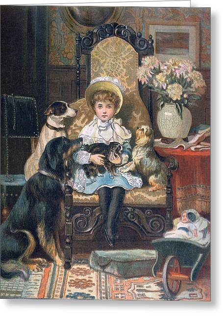 Youthful Greeting Cards - Doddy and her Pets Greeting Card by Charles Trevor Grand
