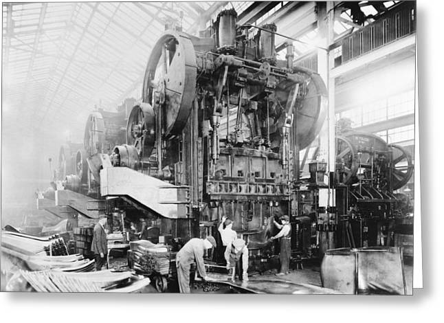 Dodge Brothers automobile factory, 1915 Greeting Card by Science Photo Library