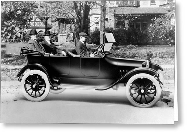 Traveling Salesman Greeting Cards - Dodge brothers in their first car, 1914 Greeting Card by Science Photo Library