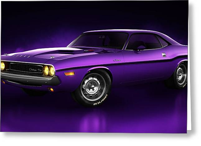 Stylish Car Greeting Cards - Dodge Challenger Hemi - Shadow Greeting Card by Marc Orphanos