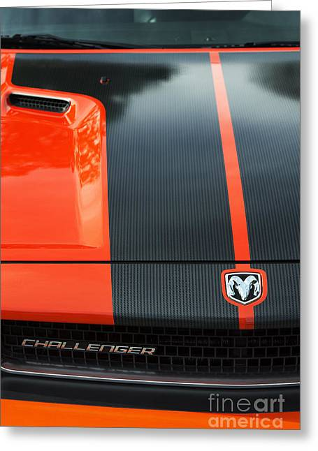 Head Badge. Logo. Greeting Cards - Dodge Challenger Greeting Card by Tim Gainey