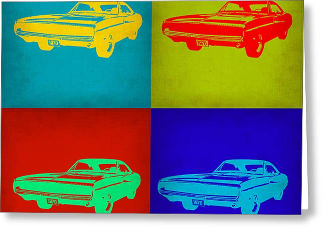 Old Digital Art Greeting Cards - Dodge Charger Pop Art 2 Greeting Card by Naxart Studio