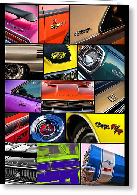 Tickled Pink Greeting Cards - Dodge Collage No. 1 Greeting Card by Gordon Dean II