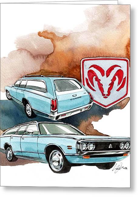 Station Wagon Greeting Cards - Dodge Coronet Greeting Card by Yoshiharu Miyakawa
