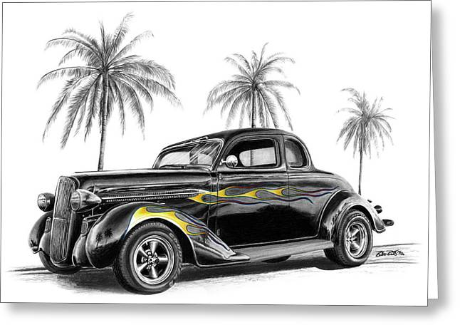 Charcoal Car Greeting Cards - Dodge Coupe Greeting Card by Peter Piatt