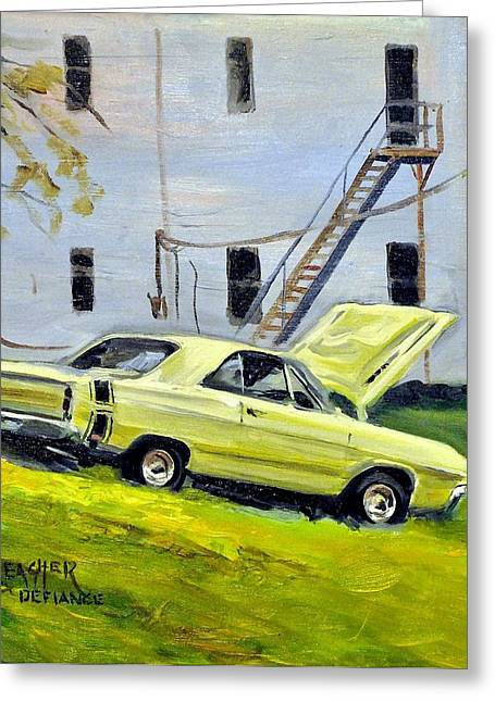 Defiance Greeting Cards - Dodge Dart Swinger Greeting Card by Spencer Meagher
