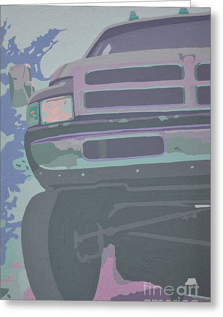 Headlight Paintings Greeting Cards - Dodge Ram with decreased color value Greeting Card by Paul Kuras