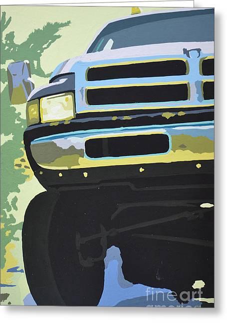 Headlight Paintings Greeting Cards - Dodge Ram with green hue Greeting Card by Paul Kuras