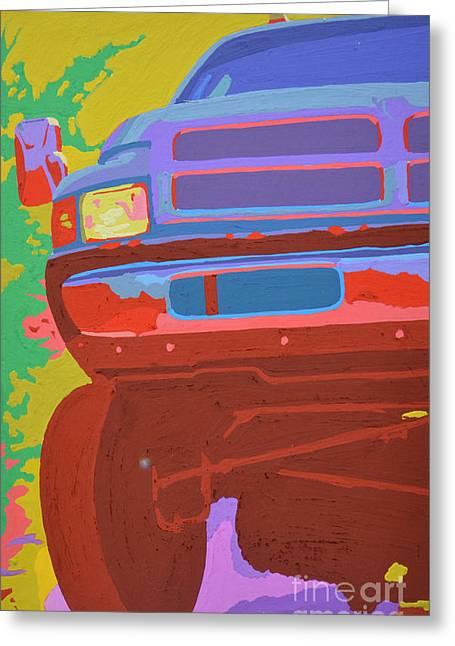 Headlight Paintings Greeting Cards - Dodge Ram with increased chroma Greeting Card by Paul Kuras