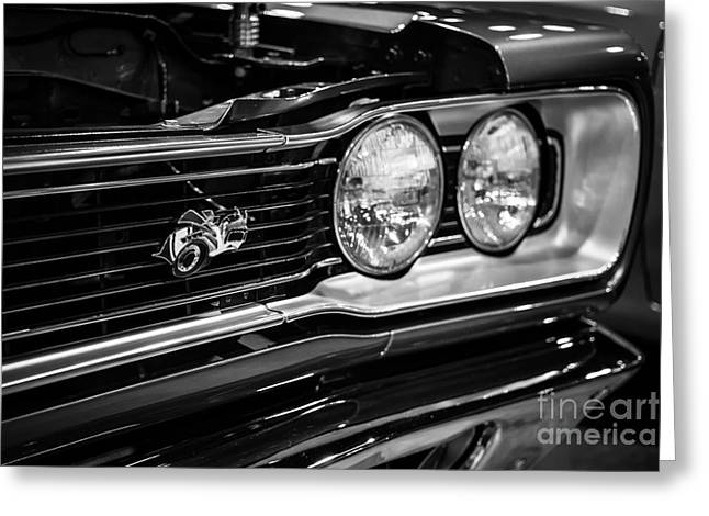 Dodge Coronet Super Bee Greeting Cards - Dodge Super Bee Black and White Greeting Card by Paul Velgos