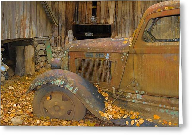 Log Cabins Greeting Cards - Dodge Truck Autumn Abstract Greeting Card by Dan Sproul