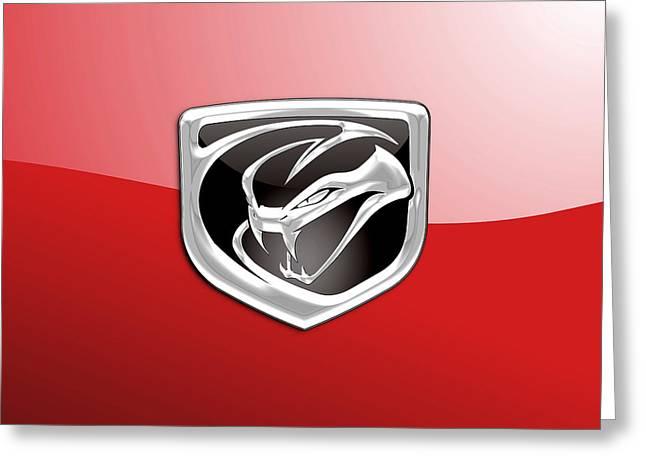 Viper Digital Art Greeting Cards - Dodge Viper 3D Badge-Logo on Red Greeting Card by Serge Averbukh