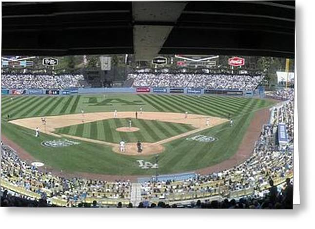 Strikeout Greeting Cards - Dodger Baseball Greeting Card by Chris Tarpening