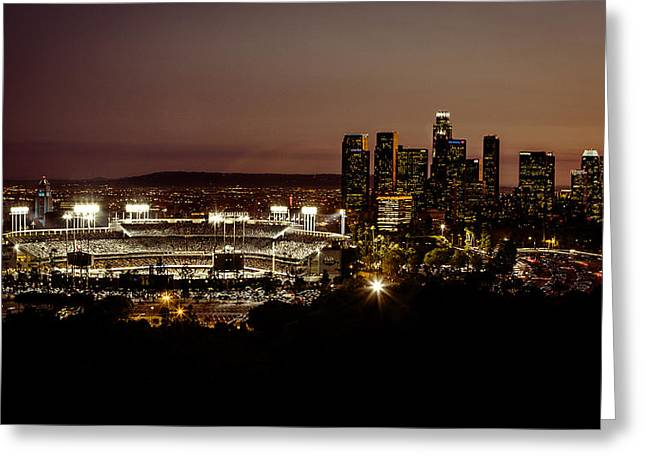Downtown Greeting Cards - Dodger Stadium at Dusk Greeting Card by Linda Posnick