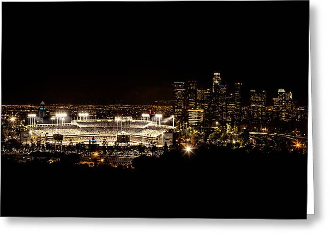 Baseball Stadiums Greeting Cards - Dodger Stadium at Night Greeting Card by Linda Posnick