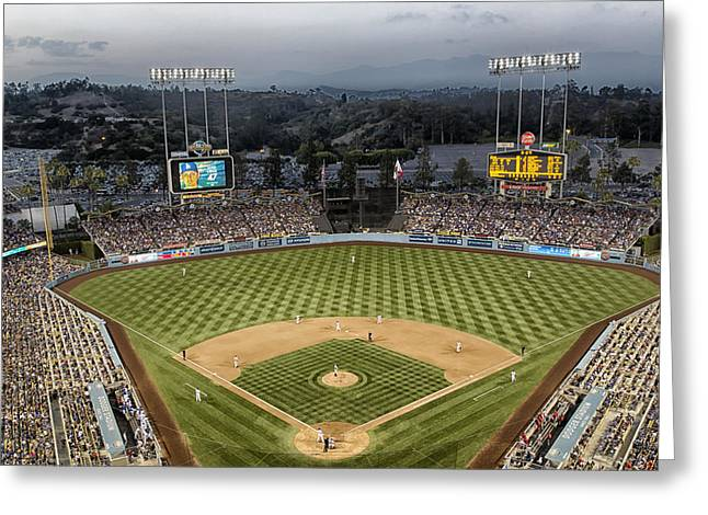 Iconic Baseball Players Greeting Cards - Dodger Stadium in the Evening Greeting Card by Mountain Dreams