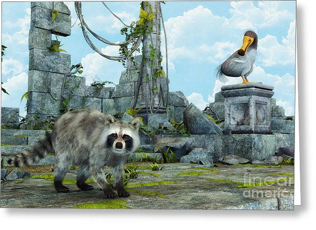 Raccoon Digital Art Greeting Cards - Dodo Meets Raccoon Greeting Card by Jutta Maria Pusl