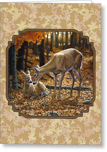 White-tail Deer Greeting Cards - Doe and Fawn Autumn Leaves Pillow and Duvet Cover Greeting Card by Crista Forest