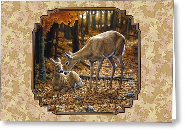 Whitetailed Deer Greeting Cards - Doe and Fawn Autumn Leaves Pillow and Duvet Cover Greeting Card by Crista Forest