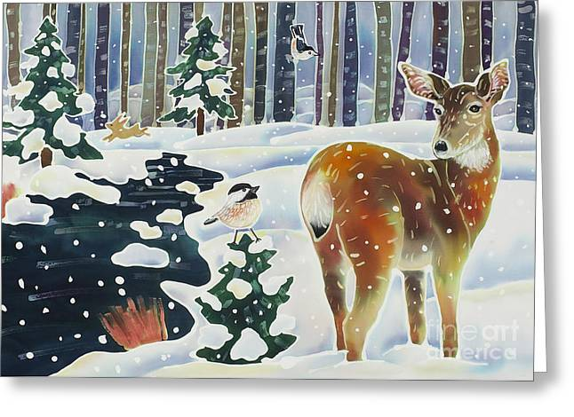 Christmas Art Greeting Cards - Doe and the Chickadee Greeting Card by Harriet Peck Taylor