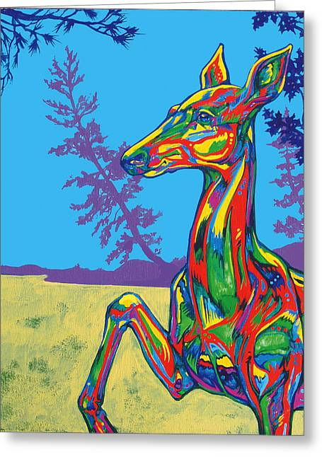 Vivid Colour Paintings Greeting Cards - Doe Greeting Card by Derrick Higgins