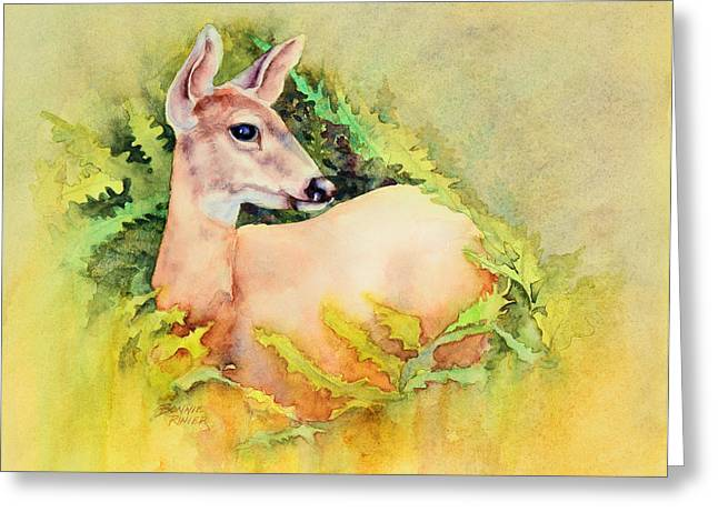 Does Greeting Cards - Doe in Ferns Greeting Card by Bonnie Rinier