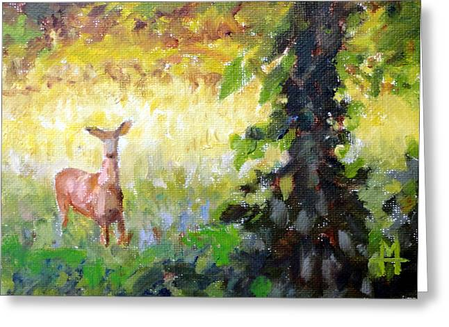 Mountain Climbing Print Paintings Greeting Cards - Doe Greeting Card by Mark Hartung